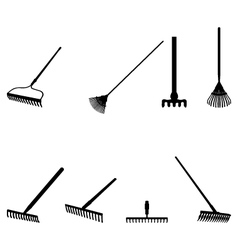 Silhouettes of rakes vector