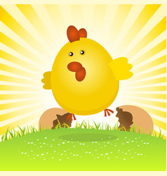Spring easter chick birth vector