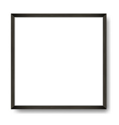 Square blank framed poster on white wall vector