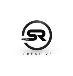Sr brush letter logo design creative brushed vector