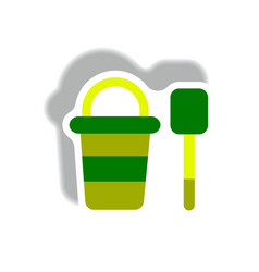 Stylish icon in paper sticker style bucket shovel vector