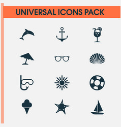 Summer icons set collection of goggles conch vector