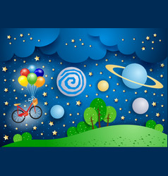surreal landscape with big planets and bicycle vector image