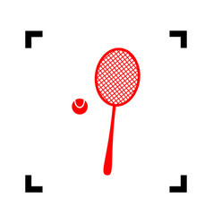 tennis racquet sign red icon inside black vector image
