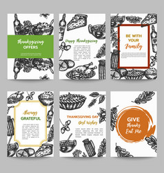 thanksgiving day set of cards collection hand vector image