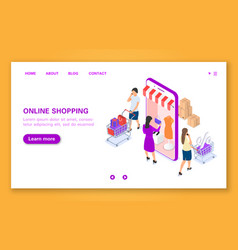 the concept of women s shopping in the online vector image