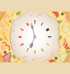 time for lunch assorted pizza with conceptual vector image