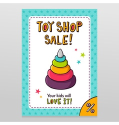 Toy shop sale flyer design with toy pyramid with vector