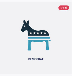 Two color democrat icon from united states vector