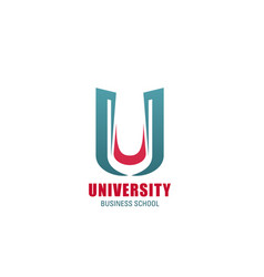 University icon of business school emblem template vector