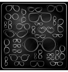 Vitnage set from chalk glasses vector