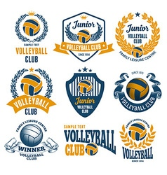 Volleyball emblems set vector