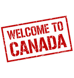 Welcome to canada stamp vector