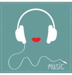 White headphones with cord Red lips Music card vector
