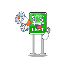 with megaphone keep left mascot shape in character vector image
