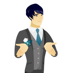 Young asian confused groom shrugging shoulders vector