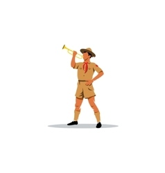 Young Boy Scout bugler sign vector image