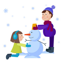 christmas kids playing winter games cartoon new vector image