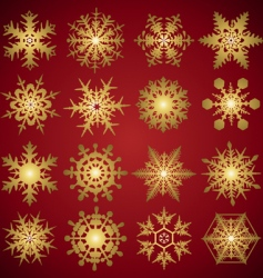 gold crystal snowflakes vector image vector image