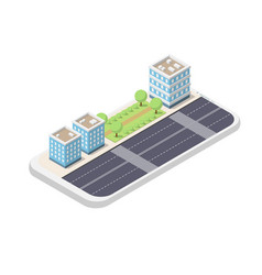 isometric phone and city vector image