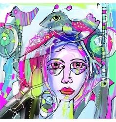 original abstract digital painting of human face vector image vector image