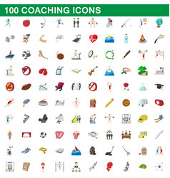 100 coaching icons set cartoon style vector image vector image
