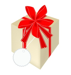A Beautiful Gift Box with Red Ribbon vector image vector image