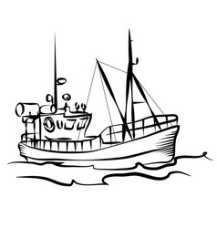 fishing boat graphic vector image