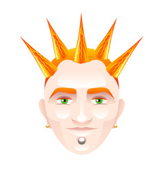 red-haired man with punk hairstyle isolated on vector image vector image