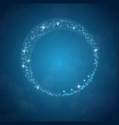 sparkles frame abstract on blue background vector image vector image