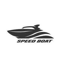 Speed boat monochrome logo vector