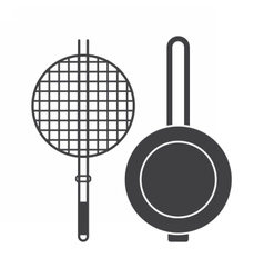 Cooking Brazier and Pan Icons vector image vector image