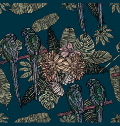 flowers tropical leaves and parrots pattern vector image