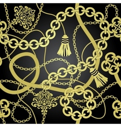 Gold chain seamless background vector image
