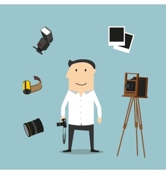 Photographer and photography devices vector image