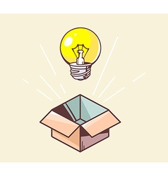 opened box and yellow lightbulb on color vector image vector image