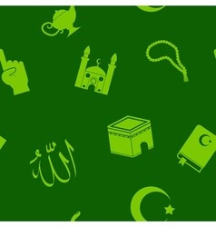 seamless background with islamic icons vector image