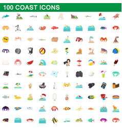 100 coast icons set cartoon style vector image