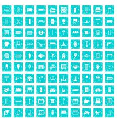 100 furnishing icons set grunge blue vector