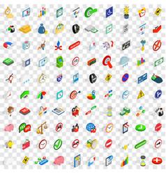 100 indicator icons set isometric 3d style vector image