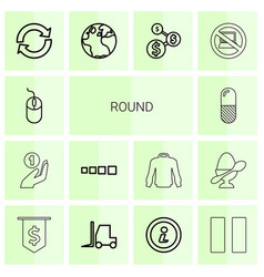 14 round icons vector image