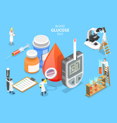 3d isometric flat concept blood glucose vector image