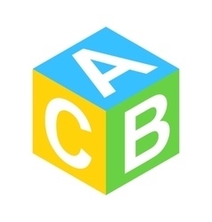 ABC block isometric 3d icon vector