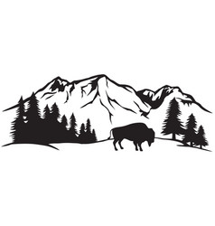 American bison and mountain landscape vector
