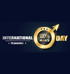 banner mens day 3d vector image