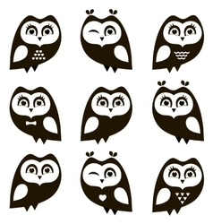 Black and white owls and owlets vector image