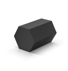 Black hexagonal prism vector