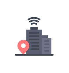 building wifi location flat color icon icon vector image