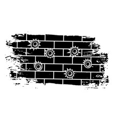 Bullet holes on brick wall vector