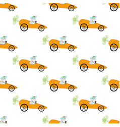 bunny driving carrot seamless pattern vector image